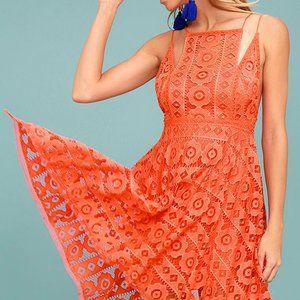 Free People Just Like Honey Orange Lace Dress